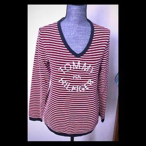 Tommy Hilfiger Striped V Necks Sweater Cotton Logo